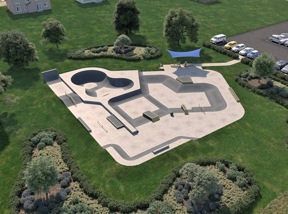 A Spohn Ranch rendering shows how a skate park would fit in the town of St. John off Cline Avenue, but the design shown won't be what the park will look like.