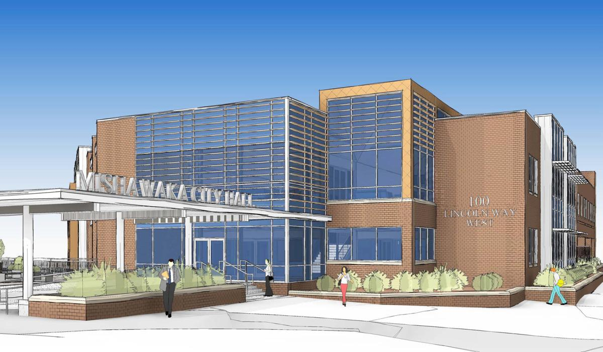An artist's rendering of the new Mishawaka City Hall shows the first floor entry view. Work will begin in 2021 on the renovation of the former Mutual Library insurance building for the city hall, police station and Mishawaka Utilities business office. Image provided