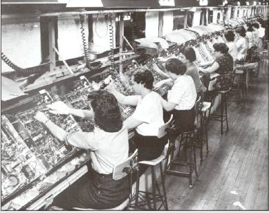 Women assemble electronics in the RCA plant in Bloomington in this photo from Monroe County Historical Museum, likely from the 1940s into the early 1950s. The plant was producing radios and televisions during that era. (Monroe County Historical Museum)